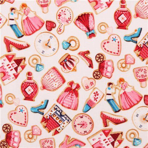cream glitter Cinderella fairy tale castle shoe ring fabric by Kokka