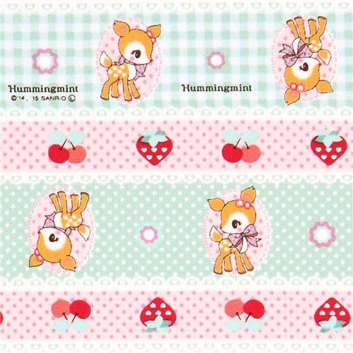 light green pink Hummingmint animal Sanrio oxford fabric