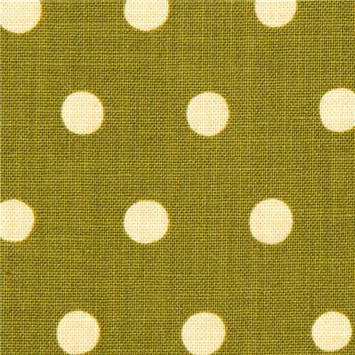 olive green echino laminate canvas fabric with beige polka dots