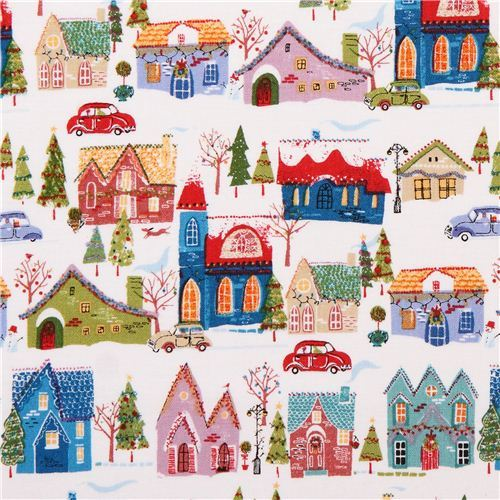 white Christmas wonderland house fabric Andover USA