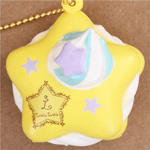 yellow Little Twin Stars star macaron squishy cellphone charm