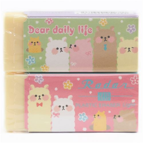 cute light yellow alpaca flower dot scented eraser from Japan