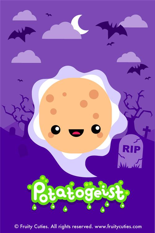 kawaii fruity cuties potato ghost Halloween iPhone wallpaper
