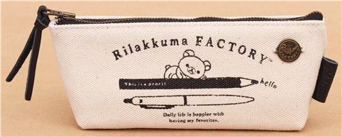 beige Rilakkuma Factory bear pens linen pencil case by San-X