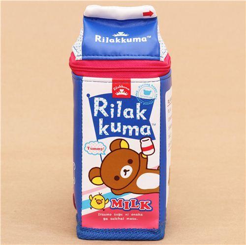blue Rilakkumarket Rilakkuma bear milk box pencil case San-X