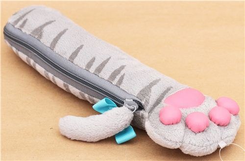 grey cat paw plush pencil case from Japan