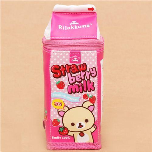 pink Rilakkumarket Rilakkuma bear strawberry milk box pencil case San-X