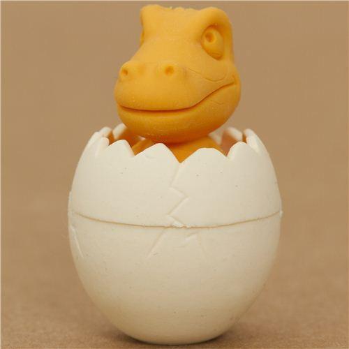 yellow dinosaur in egg eraser by Iwako from Japan