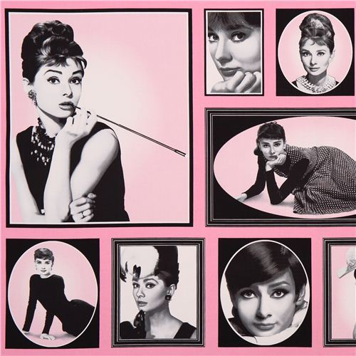 pink Audrey Hepburn fabric Robert Kaufman Hollywood Icons