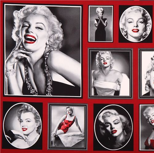red Marylin Monroe fabric Robert Kaufman Hollywood Icons