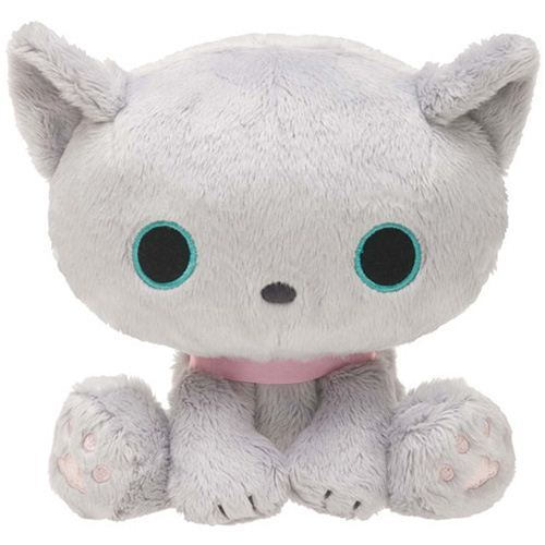 cuddly grey Kutusita Nyanko cat plush toy