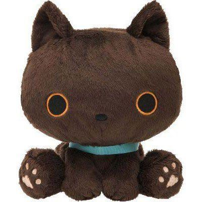 kawaii brown Kutusita Nyanko cat with collar plush toy
