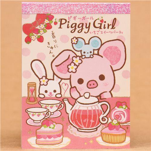 Piggy Girl pig tea rabbit cake mini Note Pad San-X