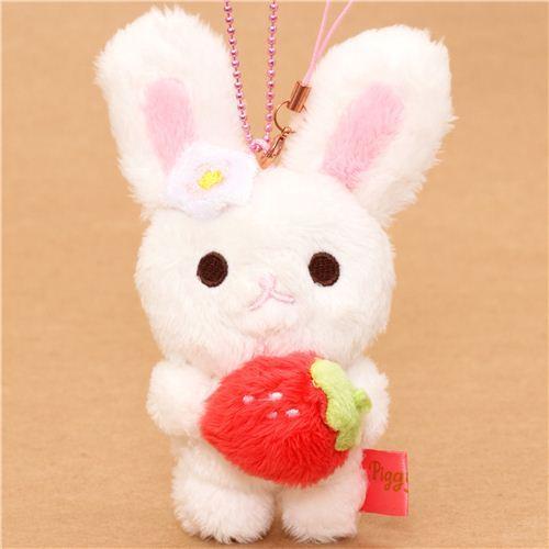 Piggy Girl rabbit plush charm white rabbit strawberry