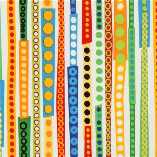 white stripes and circles fabric by Robert Kaufman USA