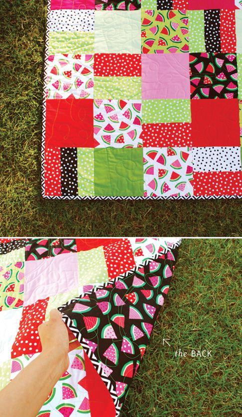 A super cute cummer quilt with Ann Kelles watermelon fabric (photo from Ann Kelles blog)