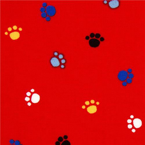 red animal paws fabric by Robert Kaufman