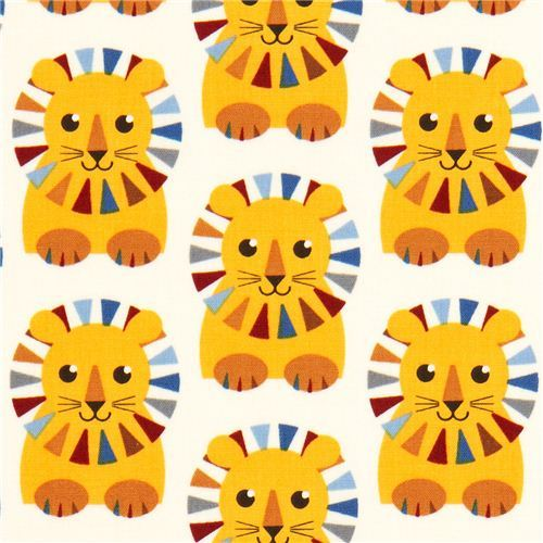 beige fabric with colourful circus lions by Robert Kaufman