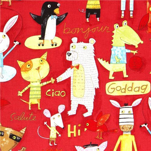 colourful animals canvas designer fabric by Nancy Wolff