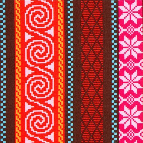 red Michael Miller fabric with nordic patterns & stripes
