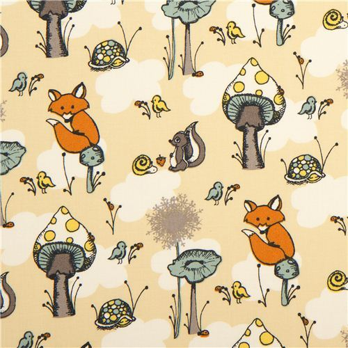 beige birch organic fabric from the USA animals & mushrooms