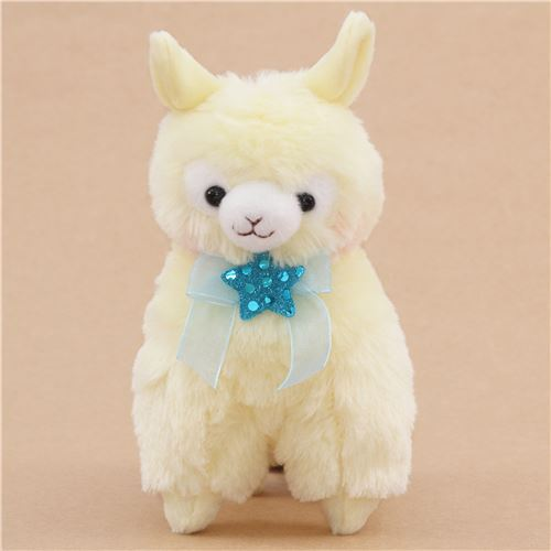 cute yellow alpaca blue bow star plush toy from Japan