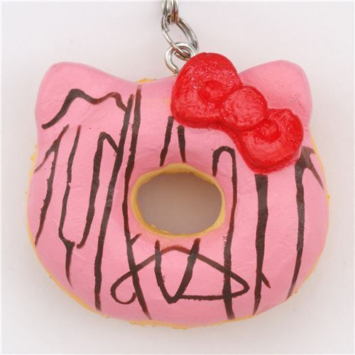 smal pink Hello Kitty donut squishy charm for cellphone or bag
