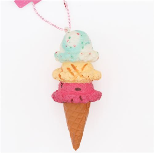 three layer pink light orange green-white ice cream squishy cellphone charm
