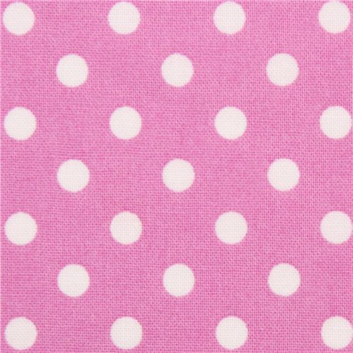 orchid Michael Miller fabric small white polka dots