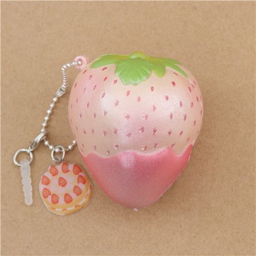 cream Mini Cheeki Strawberry Pearl pink sauce scented squishy by Puni Maru