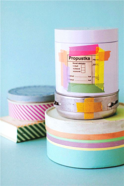 Boxes look so pretty when you stick Washi Tape on them