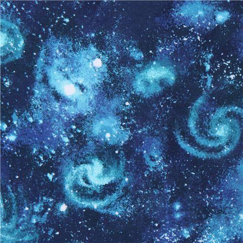 galaxy space turquoise dark blue Robert Kaufman Laguna Jersey knit fabric