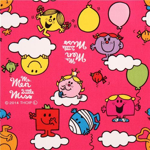 hot pink Mr. Men and Little Miss clouds Sanrio oxford fabric from Japan