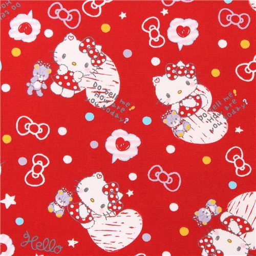 red Hello Kitty oxford fabric heart confetti by Sanrio from Japan