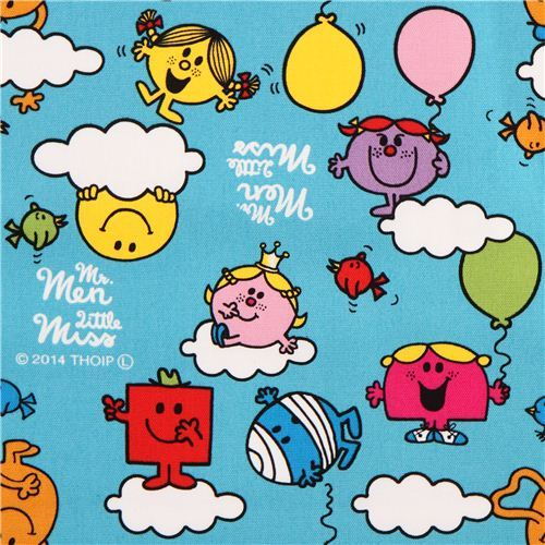 teal Mr. Men and Little Miss clouds Sanrio oxford fabric from Japan