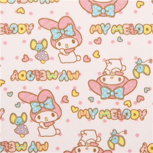 white My Melody bunny dots mouse Sanrio oxford fabric from Japan