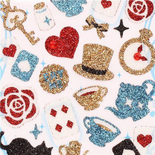 Alice in Wonderland fairy tale glitter stickers from Japan
