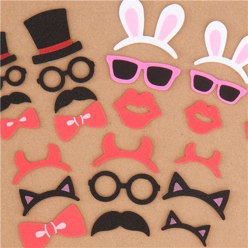 bunny ear mustache sponge sticker sack flake stickers by Kamio