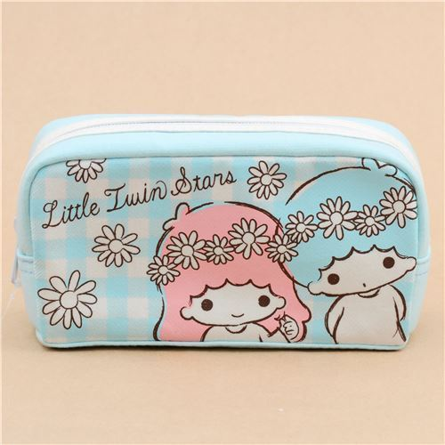 cute light blue Little Twin Stars flower pencil case from Japan