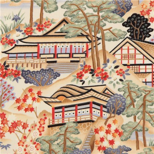 Japanese scenery fabric tree flower Timeless Treasures