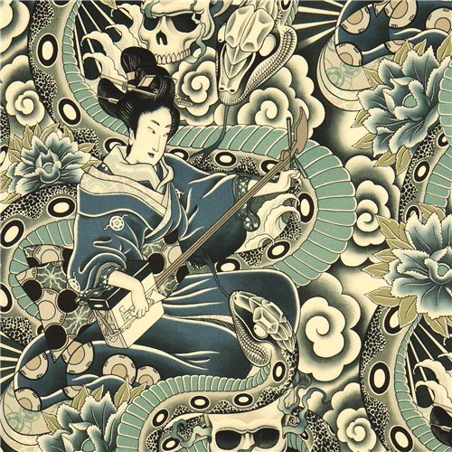 grey Alexander Henry fabric Japanese woman and skulls
