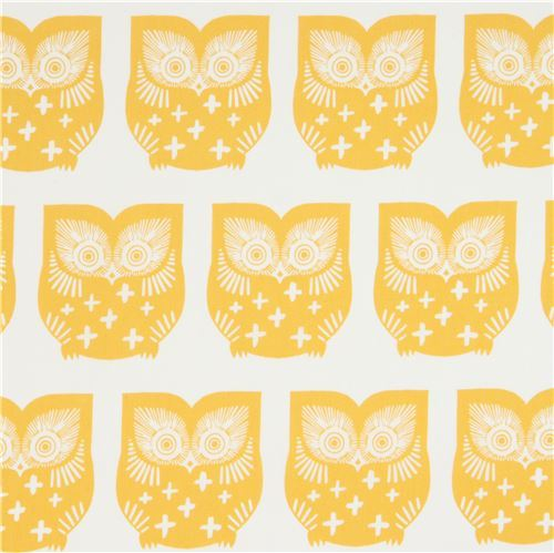 off-white fabric with mustard yellow owl bird animal by Art Gallery Fabrics