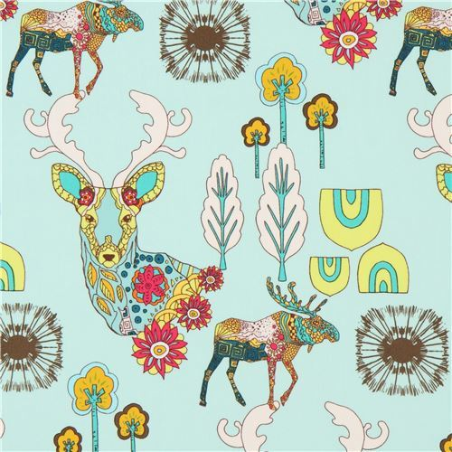 light mint green fabric with colorful moose animal cactus by Art Gallery Fabrics