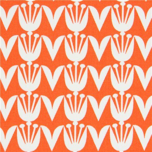 orange fabric with tulip flower by Art Gallery Fabrics