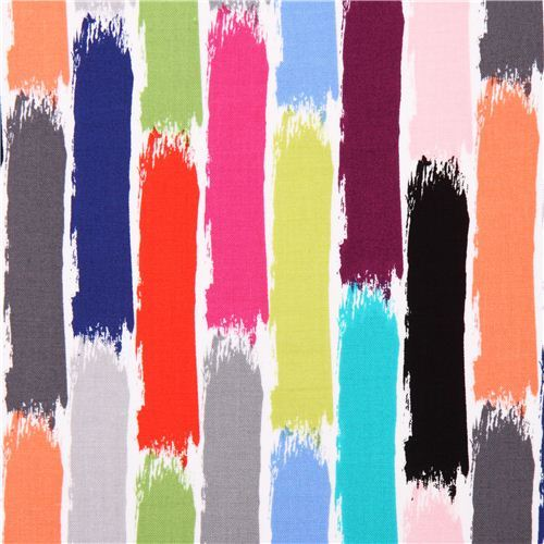 colorful Brush Stroke stripe fabric Michael Miller