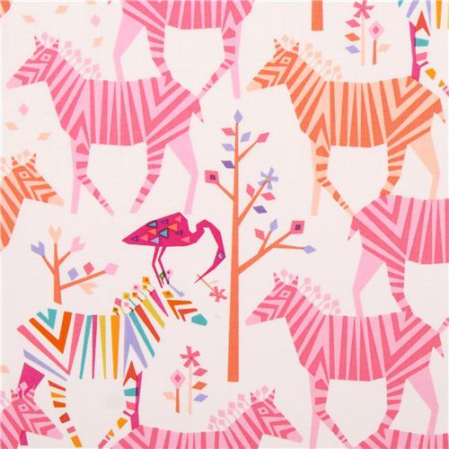 white Show Your Colors Origami zebra fabric pink-orange Michael Miller USA