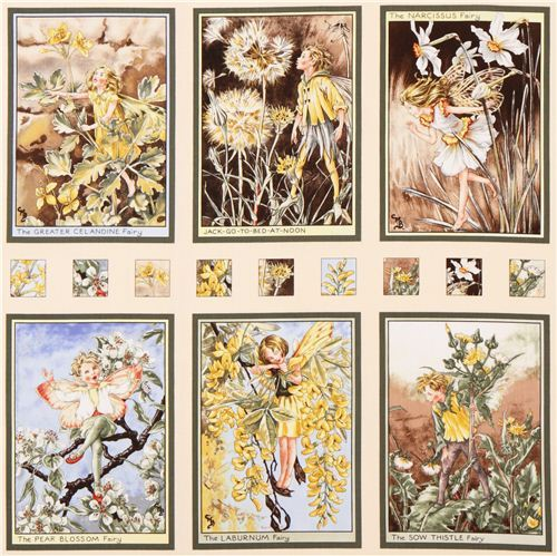Sunshine Fairies Panel fairy tale fabric Michael Miller