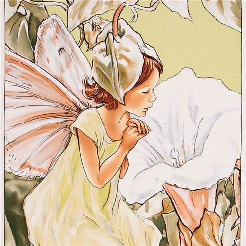 green fairy Morning Panel fairy tale fabric Michael Miller