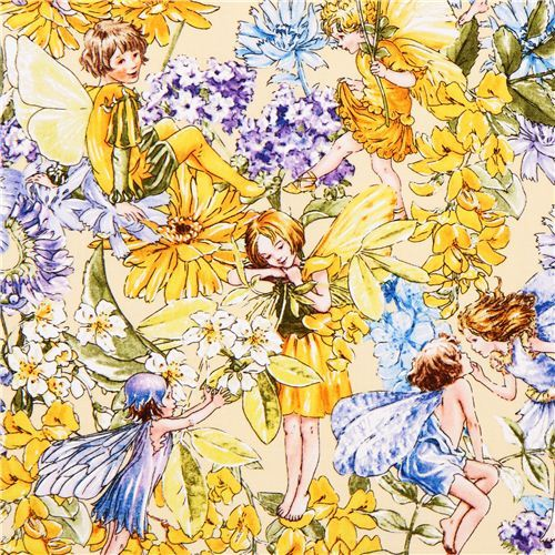yellow fairy tale fabric Michael Miller Day fairies