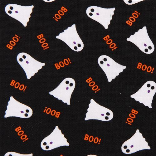 black cute ghost Halloween fabric Timeless Treasures